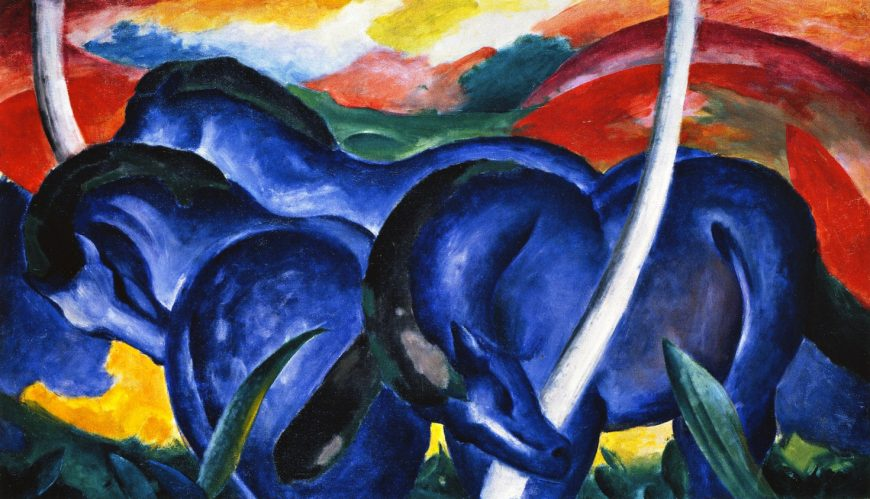 Franz Marc, The Large Blue Horses, 1911, oil on canvas, 41.6 × 71.3 inches (Walker Art Center)