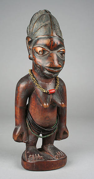 Ibeji Twin Figure, 19th-20th century, Nigeria, Yoruba peoples, wood, beads, cam wood powder, pigment, 9 1/4 x 3 9/16 inches (23.5 x 9 cm)