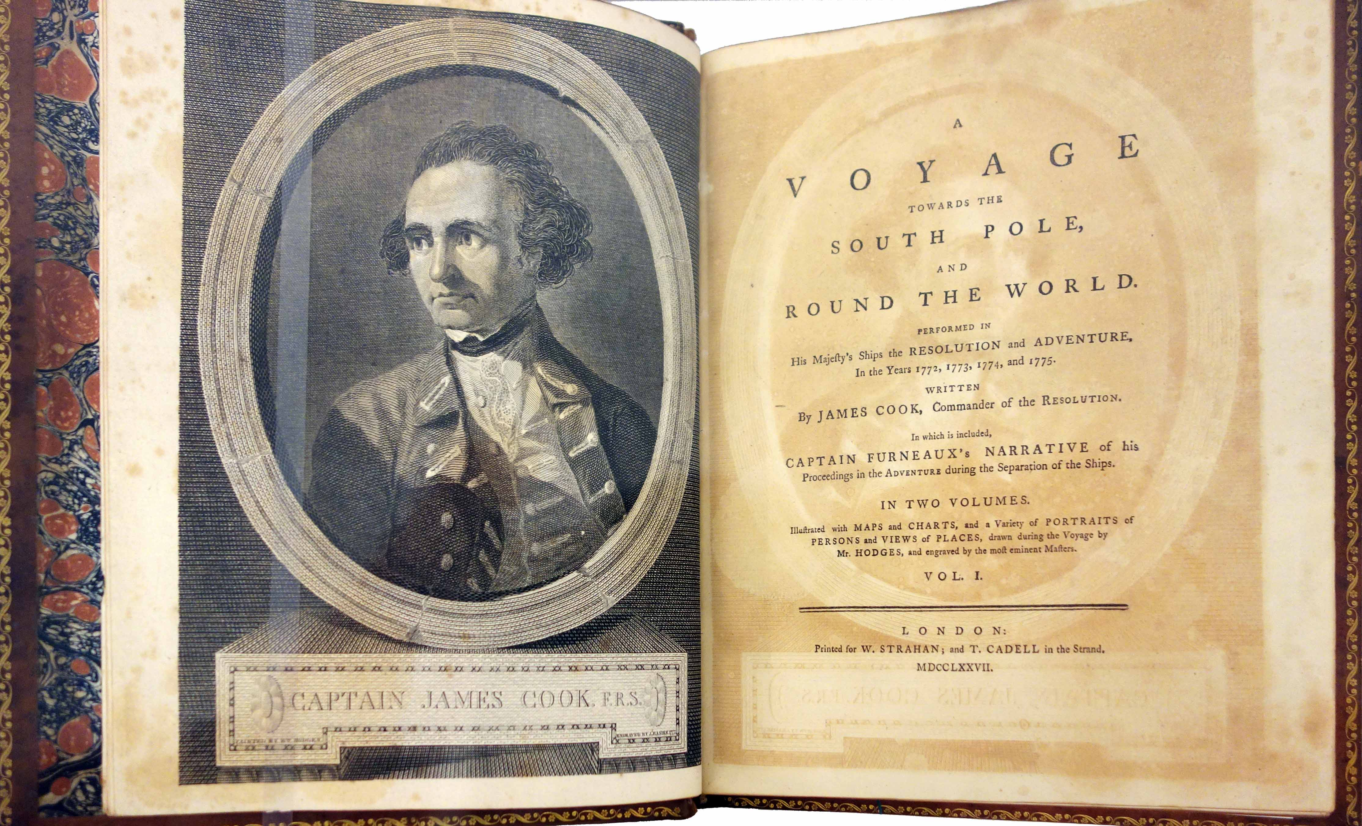 Captain James Cook, A voyage towards the South Pole, and round the World. Performed in His Majesty's ships the Resolution and Adventure, in the years 1772, 1773, 1774, and 1775 (London: Printed for W. Strahan; and T. Cadell in the Strand. 1777), photo: Daderot CC0 1.0