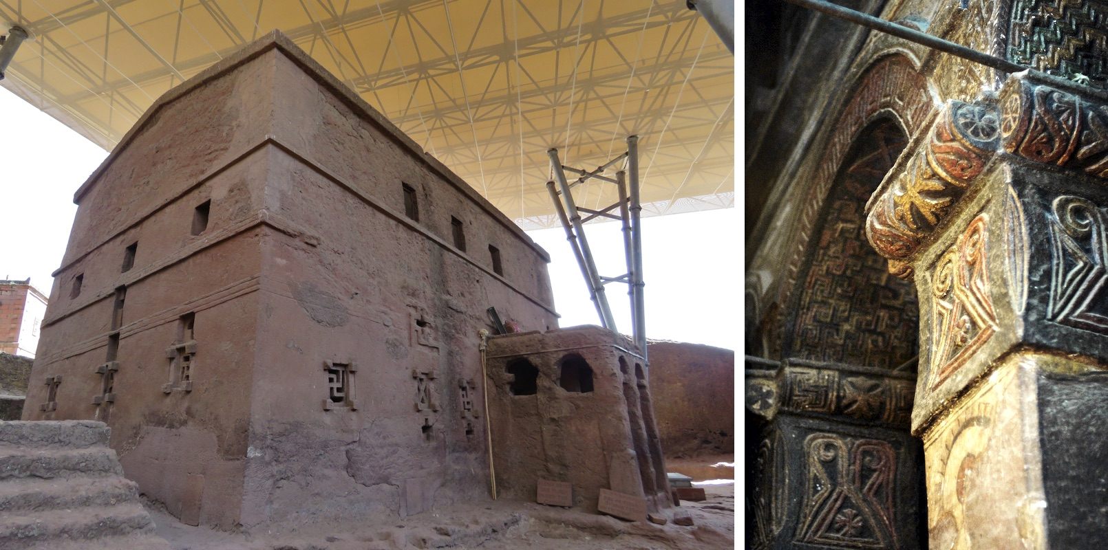 Left: exterior, Bete Maryam, Lalibela, Ethiopia, 13th century (photo: Bernard Gagnon, CC BY-SA 3.0); right: interior, Bete Maryam, Lalibela, Ethiopia, 13th century (photo: A. Davey, CC BY 2.0)