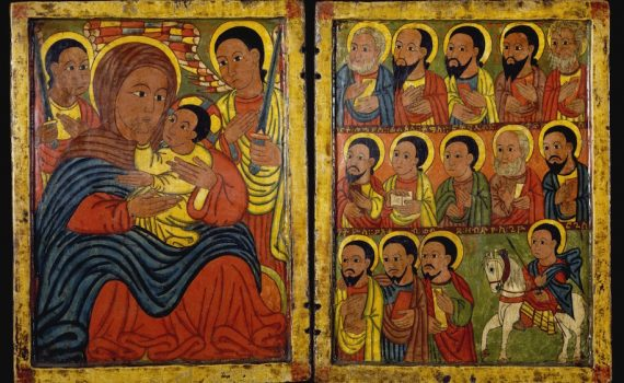 Diptych with Mary and Her Son Flanked by Archangels, Apostles and a Saint, Ethiopia, 15th century, tempera on wood, left panel: 8 7/8 x 7 13/16 x 5/8 inches (The Walters Art Museum)