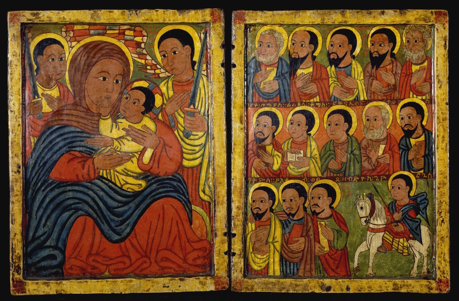 Follower of Fre Seyon, Diptych with Mary and Her Son Flanked by Archangels, Apostles and a Saint, Ethiopia, late 15th century, tempera on wood, left panel: 8 7/8 x 7 13/16 x 5/8 inches (The Walters Art Museum)