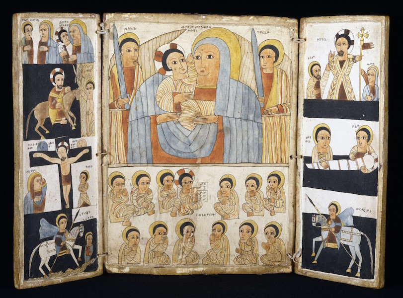 Triptych with Mary and Her Son, Archangels, Scenes from Life of Christ and Saints, Ethiopia, early 16th century, tempera on wood (The Walters Art Museum)