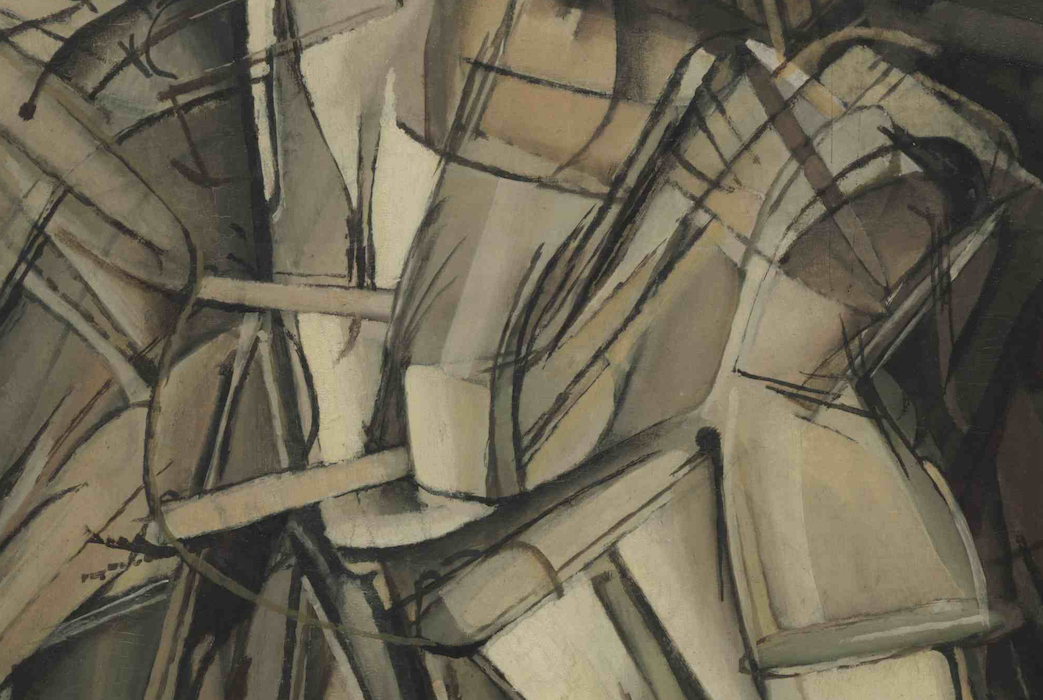 Detail, Marcel Duchamp, Nude Descending a Staircase (No. 2), 1912, oil on canvas, 57 7/8 x 35 1/8 (151.8 x 93.3 cm) (Philadelphia Museum of Art)