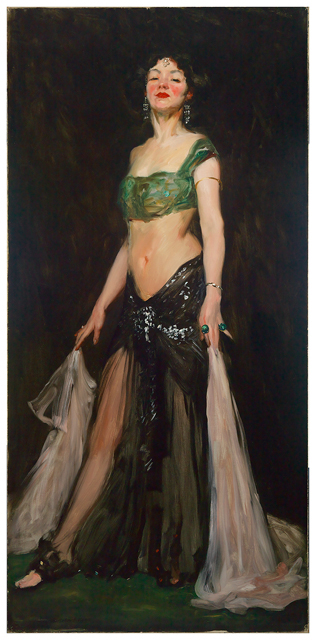 Robert Henri, Salome Dancer, 1909, oil on canvas, 77 x 37 inches / 195.6 x 94 cm (Mead Art Museum, Amherst College)