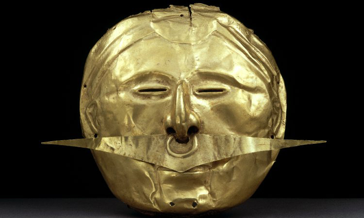 Mask with Nose Ornament, c. 500 B.C.E.–1600 C.E., gold alloy, 15.5 x 18 cm, Quimbaya © The Trustees of the British Museum. This spectacular hammered mask with a dangling nose ornament would probably have been placed on top of the face of a funerary bundle – the wrapped body of the deceased—transforming him into an ancestor and semi-divine figure.