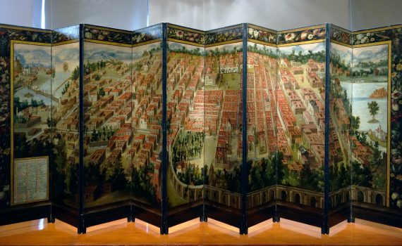 Mexico City side, Biombo with the Conquest of Mexico and View of Mexico City, New Spain, late 17th century (Museo Franz Mayer, Mexico City)