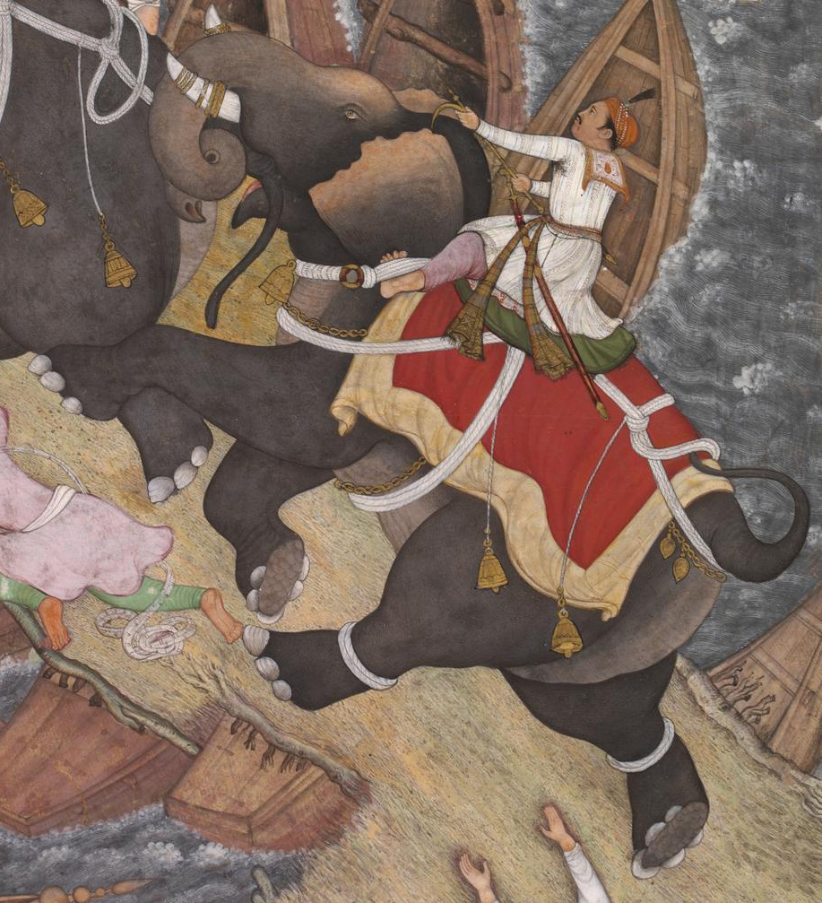 "Basawan and Chetar, ""Akbar"" (detail) from the Akbarnama, c. 1586-89, Mughal Empire, 33 x 30 cm (© Victoria and Albert Museum, London)"
