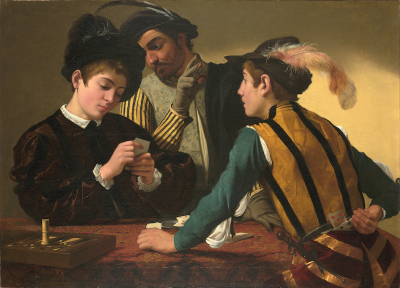 Caravaggio, The Cardsharps, c. 1595, oil on canvas, 37 1/16 x 51 9/16 inches / 94.2 x 130.9 cm (Kimbell Art Museum)