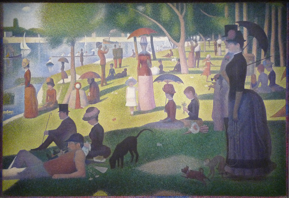 Georges Seurat, A Sunday on La Grande Jatte – 1884, 1884-86, oil on canvas, 81-3/4 x 121-1/4 inches (207.5 x 308.1 cm) (The Art Institute of Chicago)