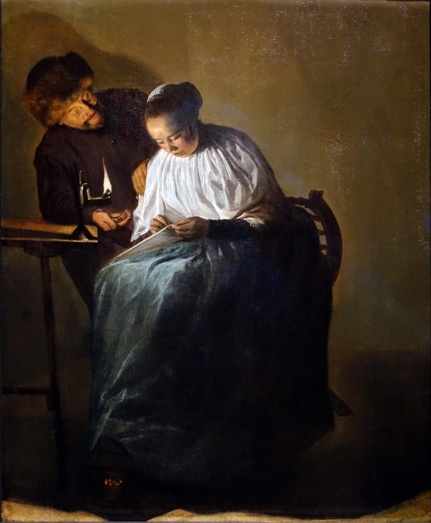 Judith Leyster, The Proposition, 1631, oil on panel, 11-3/8 × 9-1/2 inches (Mauritshuis, The Hague)