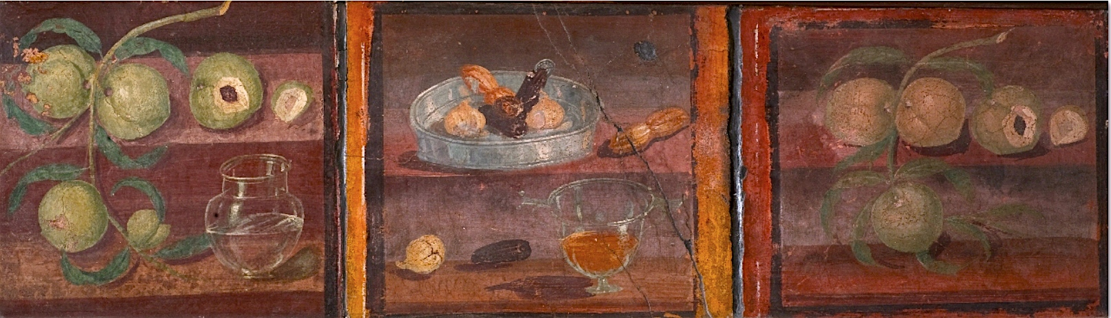 Still Life with Peaches (left), two dates, a silver tray with prunes, dried figs and dates with a glass of red wine (center), and branch of Peaches, Fourth Style wall painting from Herculaneum, Italy, c. 62-69 C.E., fresco, 14 x 13 1/2 inches (Archaeological Museum, Naples)