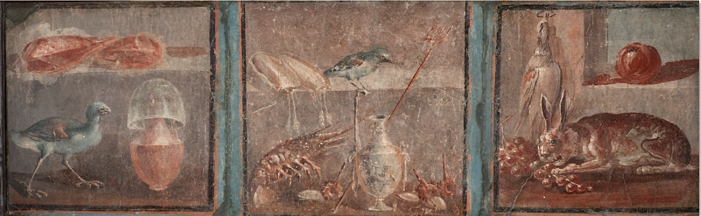 Still Life with Hen (left), Still Life with Two cuttlefish, a silver jug, bird, shells, snails and lobster (center), and Still-life with a Hare and Grapes (right), Fourth Style wall painting from Herculaneum, Italy, c. 62-69 C.E., fresco, 14 x 13 1/2 inches (Archaeological Museum, Naples)