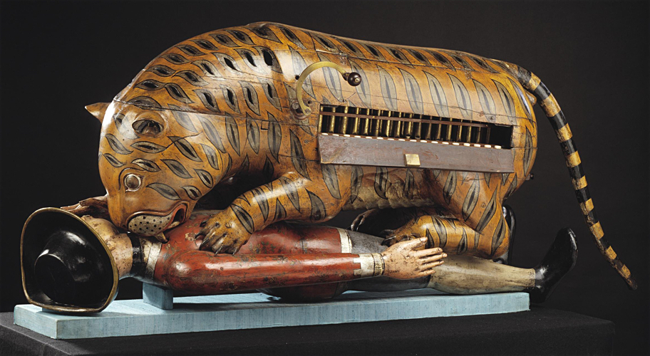 Tipu's Tiger (also Tippoo's Tiger), c. 1793, Mysore, painted wood with metal fixtures © Victoria and Albert Museum, London