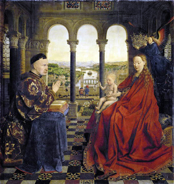 Jan van Eyck, The Virgin of Chancellor Rolin, oil on panel, c. 1390-95, 66 x 62 cm (Louvre)