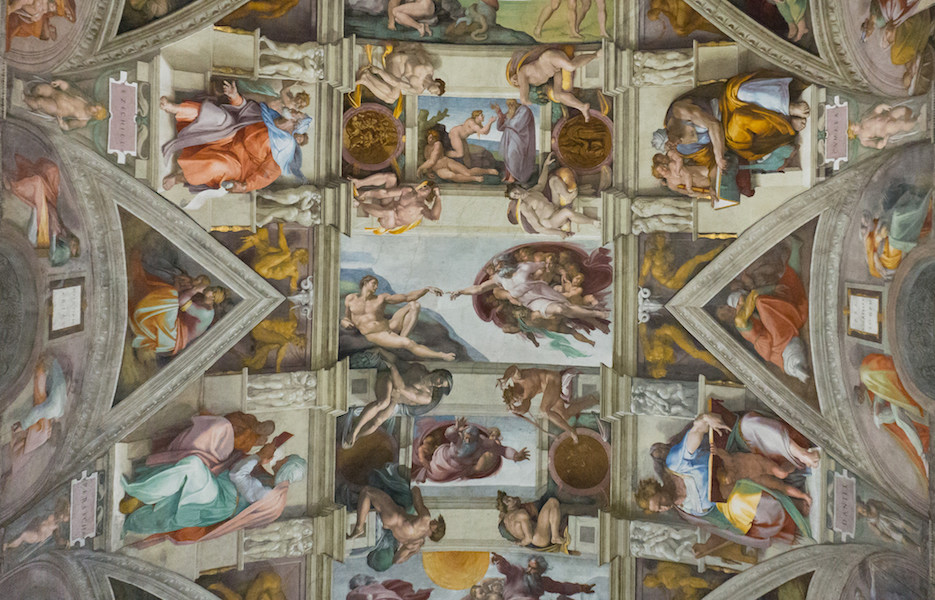 Michelangelo, Ceiling of the Sistine Chapel (detail), 1508-12, Vatican, Rome