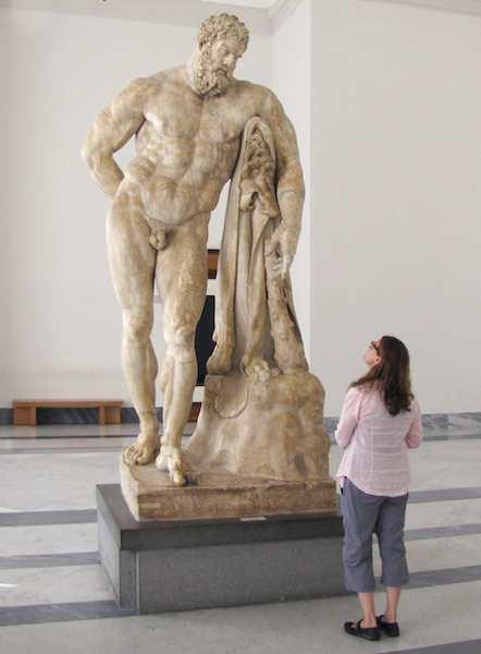 """Lysippos, Farnese Hercules (also Weary Hercules), 4th century B.C.E., later Roman copy signed """"Glykon of Athens"""" (in Greek letters), c. 216 C.E., 10 feet 5 inches high, found in the ruins of the Baths of Caracalla in Rome in 1546 (Museo Archeologico Nazionale, Naples)"""