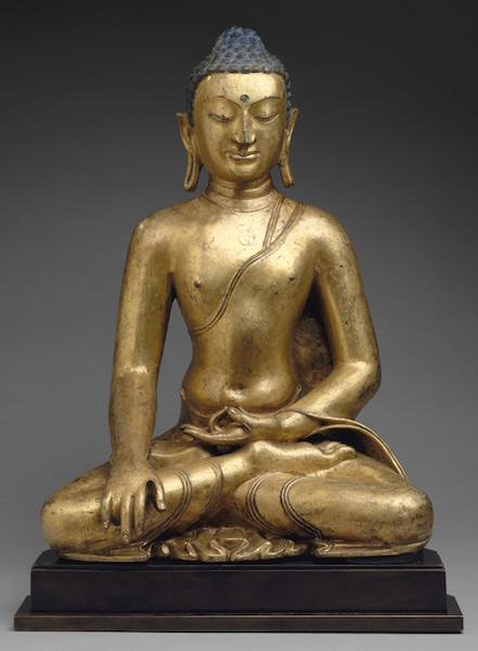 Buddha Shakyamuni or Akshobhya, the Buddha of the East, 11th-12th century, Tibet, gilt copper, 58 cm high (The Metropolitan Museum of Art)