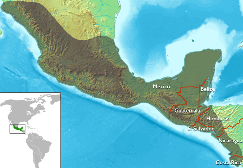 Map of Mesoamerica, with the borders of modern countries