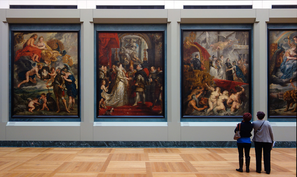Peter Paul Rubens, view in the Louvre of three paintings from the 24-picture cycle Rubens painted for the Medici Gallery in the Luxembourg Palace, in Paris (today in the Louvre), 1621-25. From left to right: The Presentation of the Portrait of Marie de' Medici, The Wedding by Proxy of Marie de' Medici to King Henry IV, Arrival (or Disembarkation) of Marie de Medici at Marseilles.