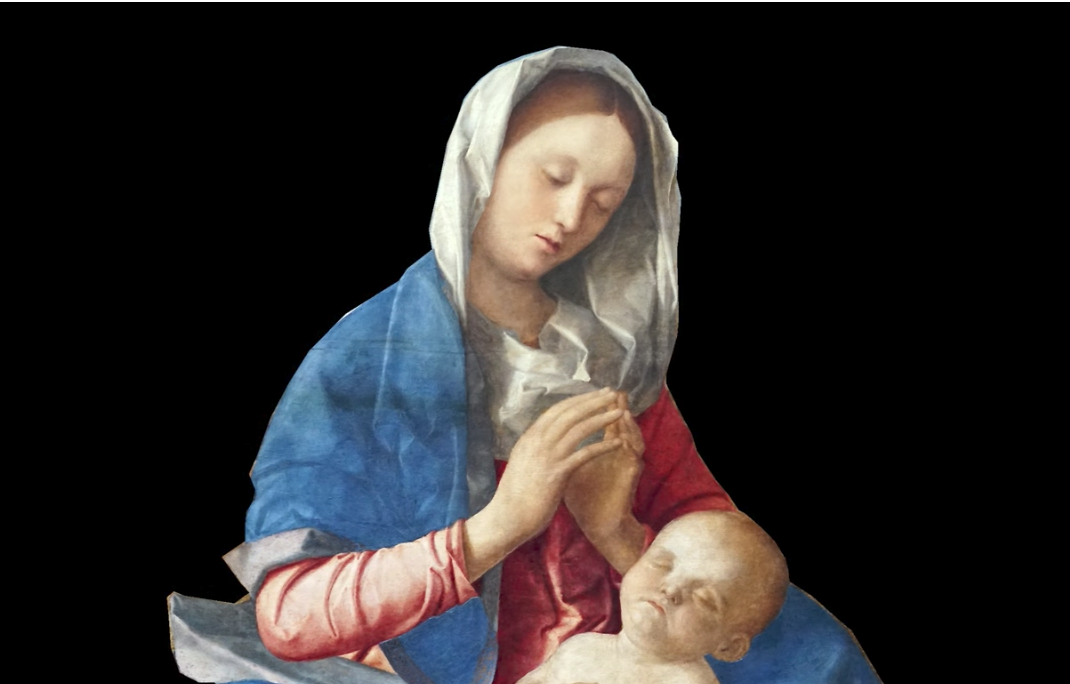 Giovanni Bellini, Madonna of the Meadow, c. 1500, oil and egg on synthetic panel, transferred from wood, 67.3 x 86.4 cm (The National Gallery)