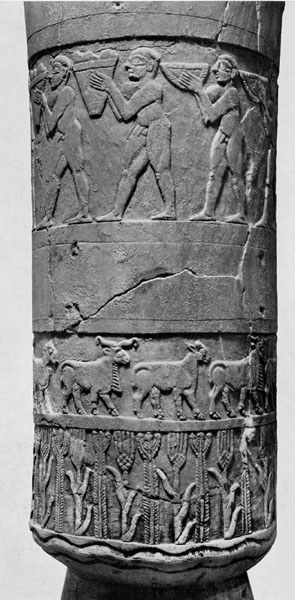 Relief-carved alabaster vessel called the Uruk Vase, Uruk, Late Uruk period, c. 3500-3000 B.C.E. (Iraq Museum, Baghdad)