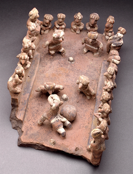 Ball Court Model, Mexico, Nayarit, c. 200 B.C. - 500 C.E., ceramic with slip and other pigments (15.24 x 21.59 x 34.29 cm) (Los Angelas County Museum of Art)