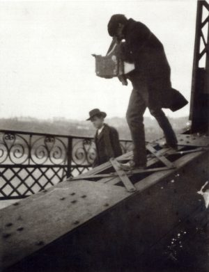 Alfred Stieglitz Photographing on a Bridge, c. 1905, gelatin silver print