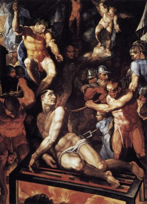 Pellegrino Tibaldi, The Martyrdom of St. Lawrence, 1592, oil on canvas, 419 x 315 cm (Basilica El Escorial)
