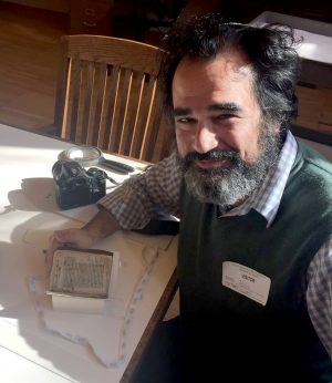 The author with the Luis de Carvajal manuscripts at the New York Historical Society (courtesy of author)