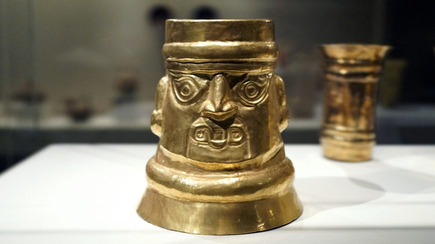 Inverse-Face Beaker, 10th-11th century, Sicán (Lambayeque), Peru, gold, 20 x 18.1 cm (The Metropolitan Museum of Art)