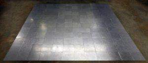 Carl Andre, 144 Aluminum Square, 1967, aluminum, 144 units, 1 x 365.8 x 365.8 cm (Norton Simon Museum)