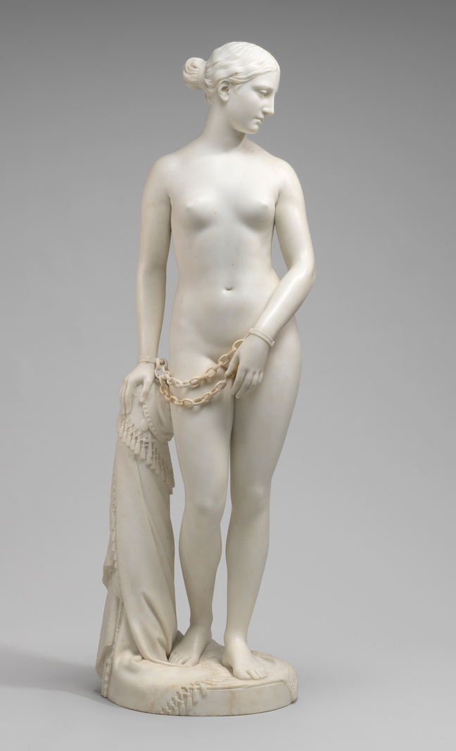 Hiram Powers, The Greek Slave, model 1841-43, carved 1846, Serravezza marble, 167.5 × 51.4 × 47 cm (National Gallery of Art)