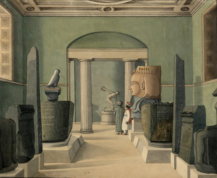 View through the Egyptian Room in the Townley Gallery at the British Museum, 1820, watercolor, 36.1 x 44.3 cm (The British Museum)