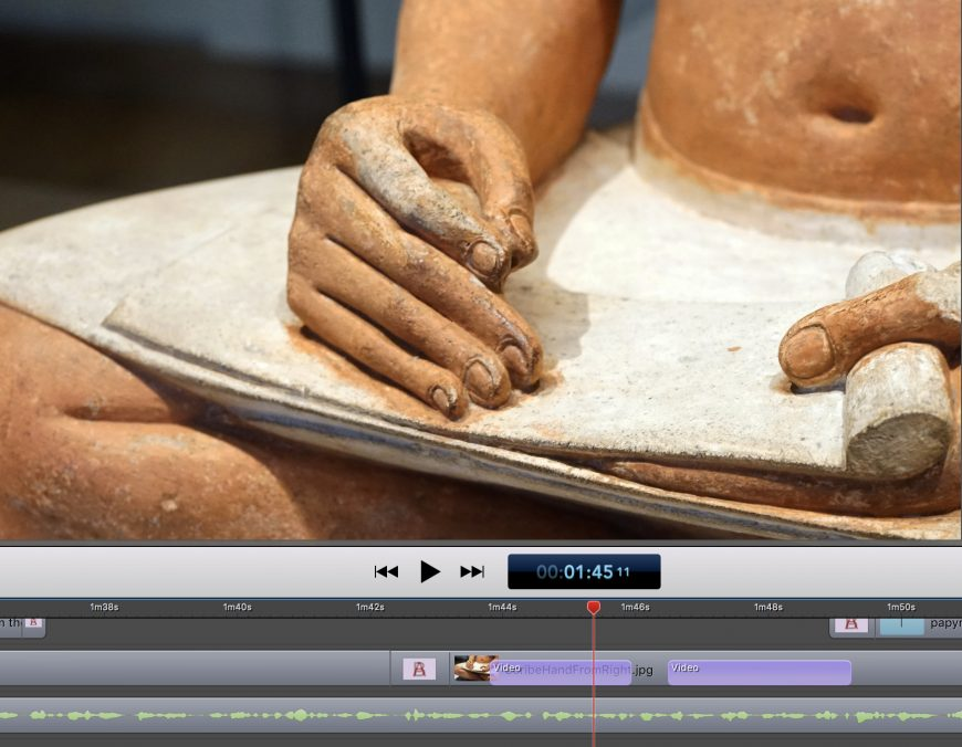 Screenshot of editing the Seated Scribe video