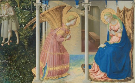 Fra Angelico, The Annunciation and Life of the Virgin (in the predella), c. 1426, tempera on wood, 194 x 194 cm (Museo del Prado, Madrid)-thumb