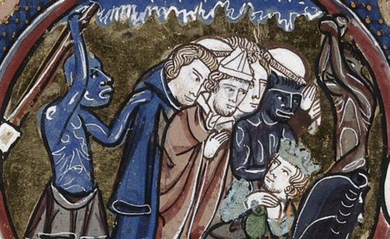 Middle left (detail), Scenes from the Apocalypse, Paris-Oxford-London Bible moralisée, France, c. 1225-45, detail