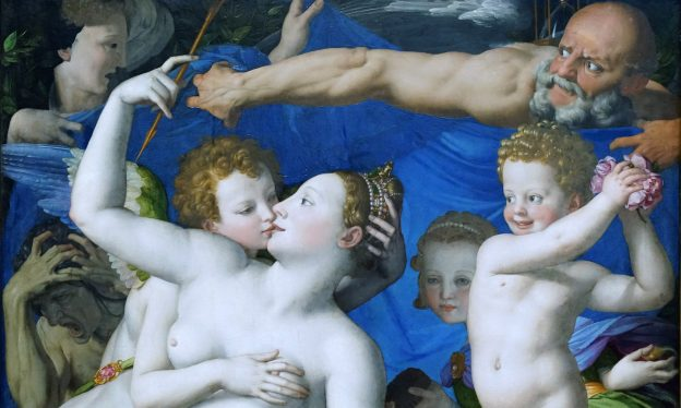 Bronzino, An Allegory with Venus and Cupid, c. 1545, oil on panel, 146.1 x 116.2cm (National Gallery, London)
