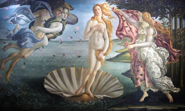 Sandro Botticelli, The Birth of Venus, 1483-85, tempera on panel, 68 x 109 5/8″ (172.5 x 278.5 cm) (Galeria degli Uffizi, Florence)