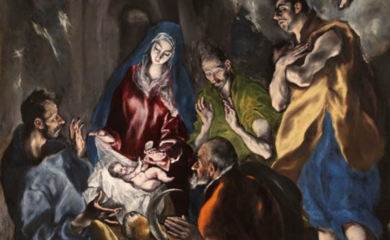 El Greco (Domenikos Theotokopoulos), Adoration of the Shepherds, ca. 1612 - 1614, oil on canvas, 126 x 71 in. (319 x 180 cm), (Museo Nacional del Prado, Madrid) -detail
