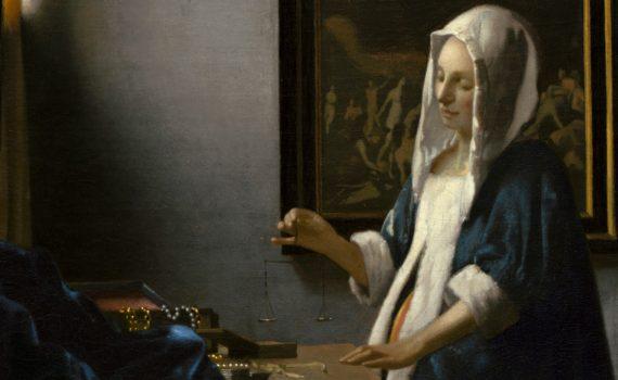 Johannes Vermeer, Woman Holding a Balance, 1664 - detail