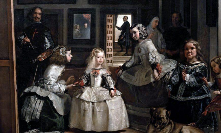 Diego Rodríguez de Silva y Velázquez, Las Meninas, c. 1656, oil on canvas, 125 1/4 x 108 5/8″ / 318 x 276 cm (Museo Nacional Del Prado, Madrid)
