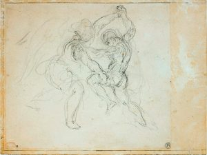 Eugène Delacroix, study for Jacob Wrestling with the Angel, 1850, graphite, 24.5 x 32.5 cm (Musée du Louvre)