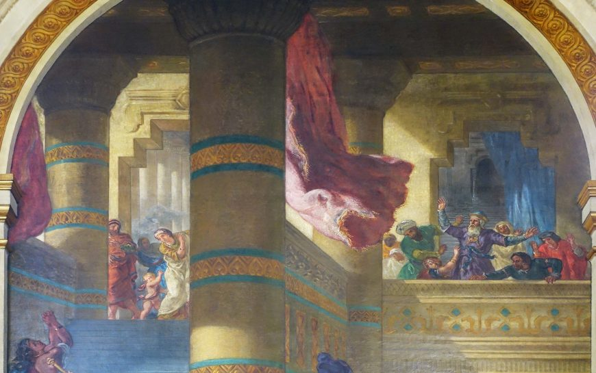 Eugène Delacroix, Heliodorus Vanquished from the Temple (detail), completed 1861, mural in the Chapel of the Holy Angels, 23-½ x 15-½ feet, Church of Saint-Sulpice, Paris (photo: Steven Zucker, CC BY-NC-SA 2.0)