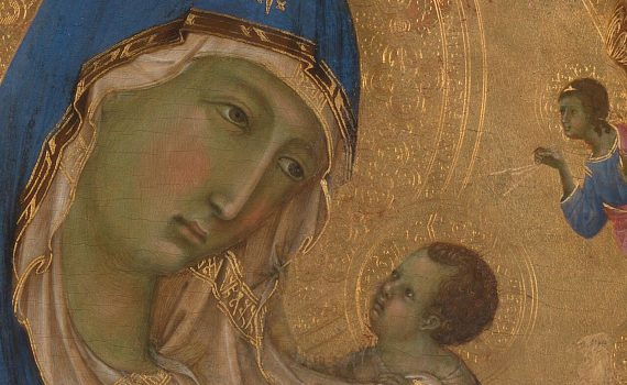 Duccio, <em>The Virgin and Child with Saints Dominic and Aurea</em>