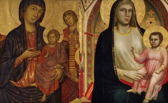 Cimabue, Santa Trinita Madonna and Child Enthroned and Giotto, The Ognissanti Madonna and Child Enthroned