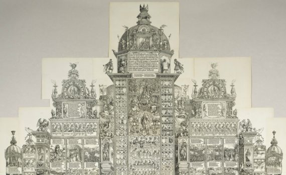 Albrecht Dürer and others, The Triumphal Arch, c. 1515, woodcut printed from 192 individual blocks, 357 x 295 cm, Germany © Trustees of the British Museum.