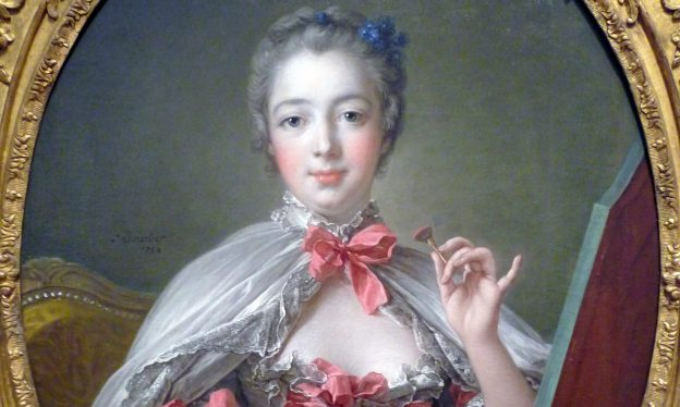 François Boucher, Madame de Pompadour, oil on canvas, 1750 (extention of canvas and additional painting likely added by Boucher later) (Fogg Art Museum, Cambridge, Massachusetts)