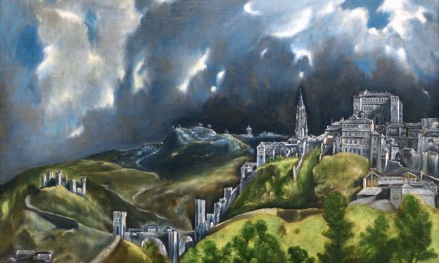 El Greco, View of Toledo, 1598-99, oil on canvas, 47-3/4 x 42-3/4″ / 121.3 x 108.6 cm (The Metropolitan Museum of Art)