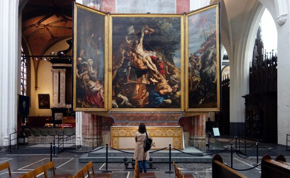 Peter Paul Rubens, Elevation of the Cross, from Saint Walburga, 1610, oil on wood, center panel: 15′ 1-7/8″ x 11′ 1-1/2″ (now in Antwerp Cathedral)